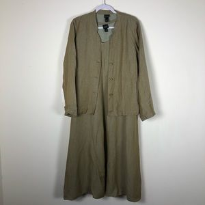 Eileen Fisher Green Linen Blend Dress / Jacket Set